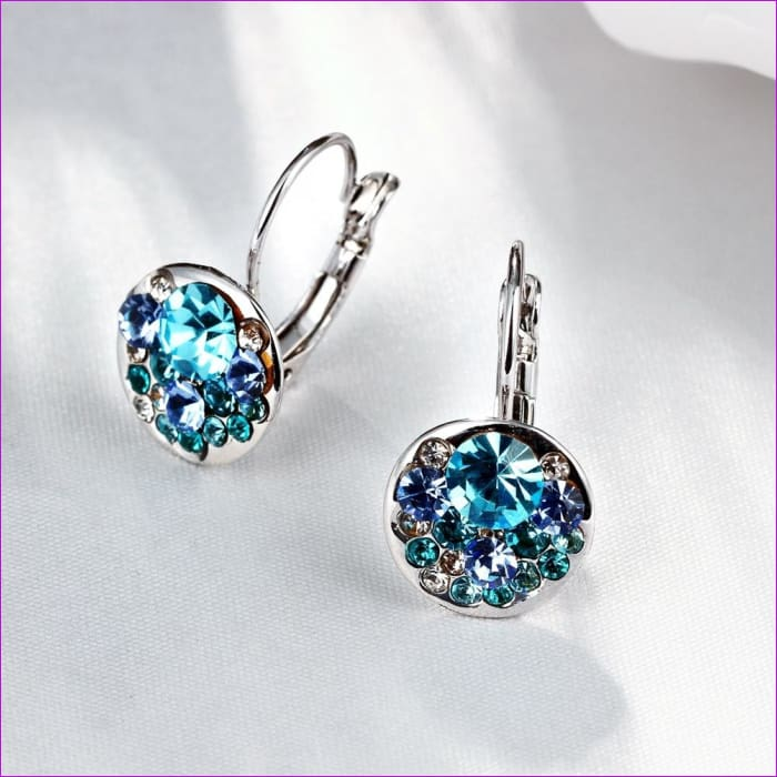 Heart pendant ear drop earrings Made with Swarovski Austrian ELEMENTS - B - Earrings Earrings