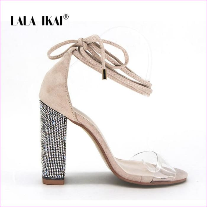 Heeled Sandals Bandage Rhinestone Ankle Strap Pumps High Heels 10.5 CM - Beige / 6.5 / China - High Heel Shoes