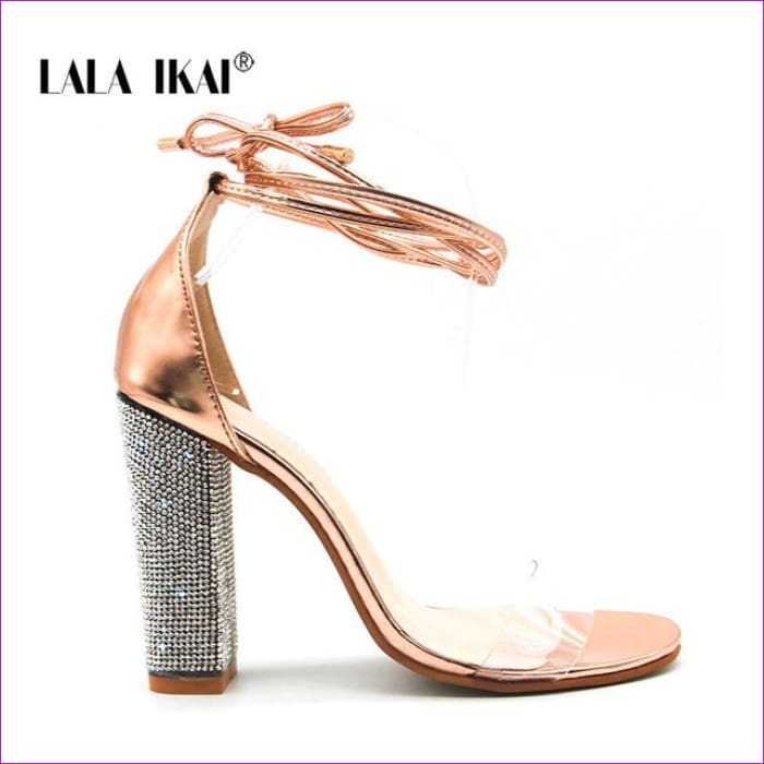 Heeled Sandals Bandage Rhinestone Ankle Strap Pumps High Heels 10.5 CM - Gold / 6.5 / China - High Heel Shoes