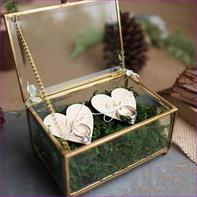 Hexagonal Geometric Ring Box Flower Jewelry Box Ring Bearer Pillow For Wedding Decorations - Wedding Favors