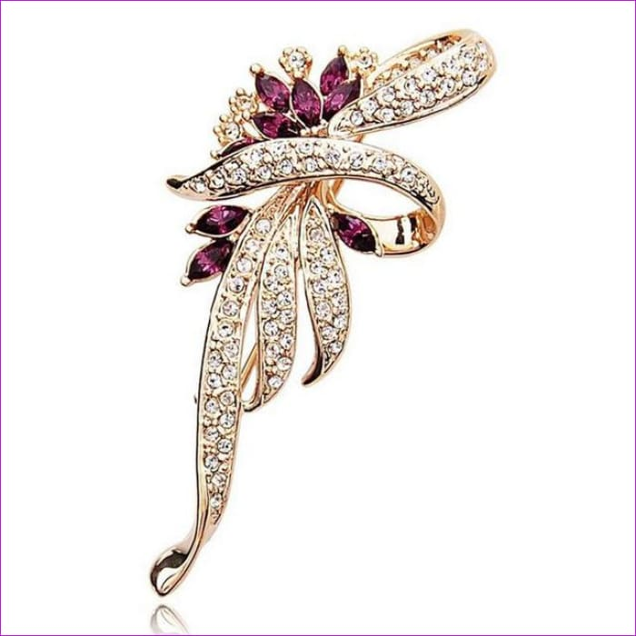 H:HYDE Hot 2017 Crystal Flower Brooch Lapel Pin Fashion Rhinestone Jewelry Women Wedding Hijab Pins Large Brooches For Women - Gold - Brooch