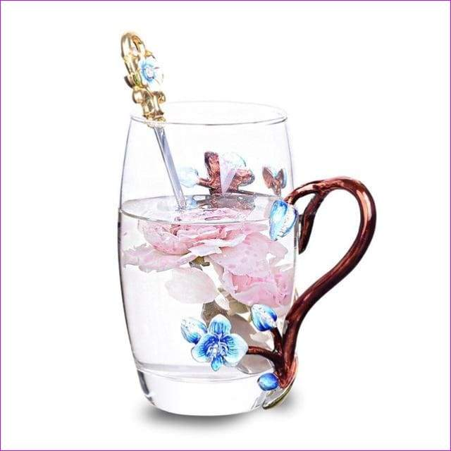High-grade heat-resistant glass Flower cup Euclid Enamel cup lovers - 1 / 301-400ml - Drinkware
