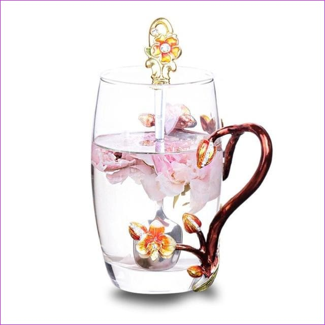 High-grade heat-resistant glass Flower cup Euclid Enamel cup lovers - 2 / 301-400ml - Drinkware