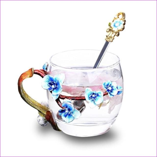 High-grade heat-resistant glass Flower cup Euclid Enamel cup lovers - 3 / 301-400ml - Drinkware