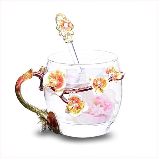 High-grade heat-resistant glass Flower cup Euclid Enamel cup lovers - 4 / 301-400ml - Drinkware