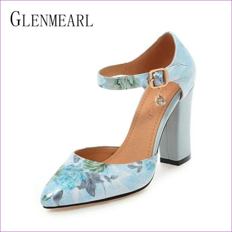 High Heels Woman Shoes Pointed Toe Ankle Strap Pumps Flower lus Size 45 - High Heel Shoes