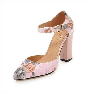 High Heels Woman Shoes Pointed Toe Ankle Strap Pumps Flower lus Size 45 - Pink / 4 - High Heel Shoes