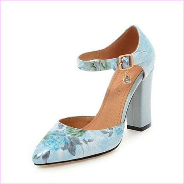 High Heels Woman Shoes Pointed Toe Ankle Strap Pumps Flower lus Size 45 - Sky Blue / 4 - High Heel Shoes