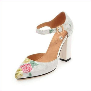 High Heels Woman Shoes Pointed Toe Ankle Strap Pumps Flower lus Size 45 - White / 4 - High Heel Shoes