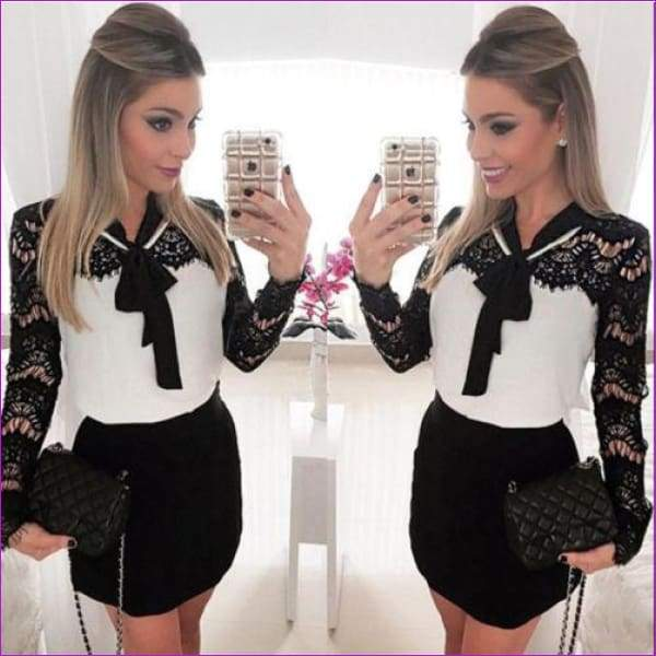 High Waist Long Sleeve Tight White Black Lace Patchwork Plus Size - Work Dresses