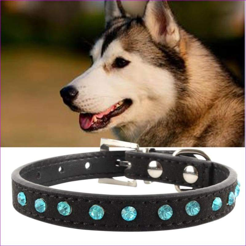 Hot Bling Crystal Rhinestones Leather Pet Dog Collars Puppy Cat Choker Necklaces Black M Adjustable Puppy Collar Buckle - Dogs