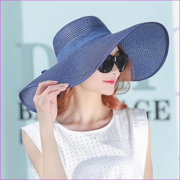 d3a110776 JCBling - Hot Sale Summer Sun Hats For Women Large Brim With Ribbons Bow Beach  Hat Cap Ladies Sun Hat UV