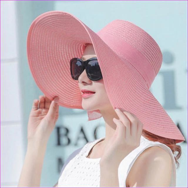 80946c8db Hot Sale Summer Sun Hats For Women Large Brim With Ribbons Bow Beach Hat  Cap Ladies