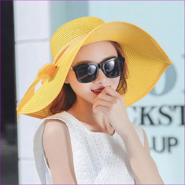 Hot Sale Summer Sun Hats For Women Large Brim With Ribbons Bow Beach Hat Cap Ladies Sun Hat UV Protect Chapeu Feminino - yellow - Beach Hats