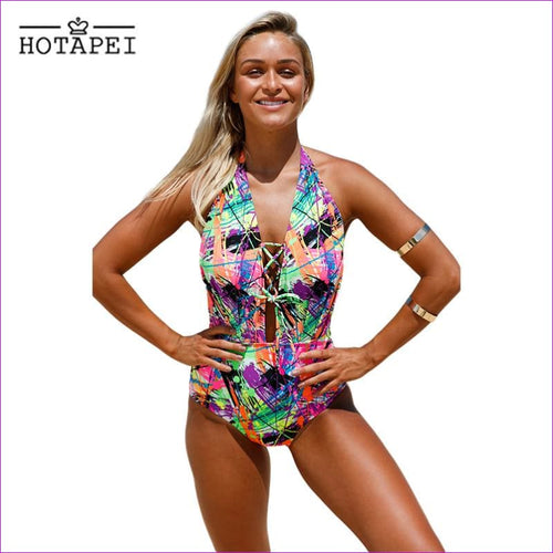 Hotapei Sexy Swimwear Multicolor Graffiti Lace Up Halter One Piece Swimsuit L410205 Women Bandage Bathing Suit Bodysuit Monokini - One Piece