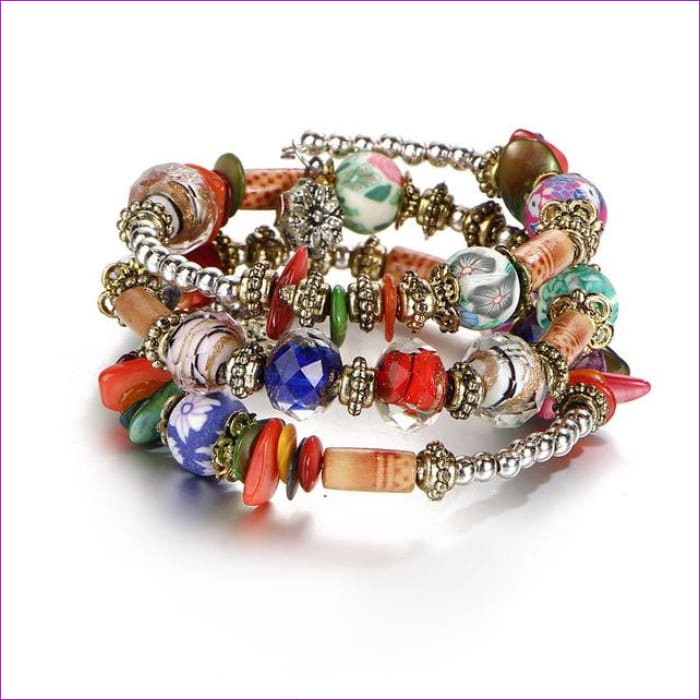 IF ME Bohemian Geometric Multilayer Charm Bracelets for Women Beads Bracelets & Bangles Statement Party Ethnic Jewelry Gift - BJDY57700 -