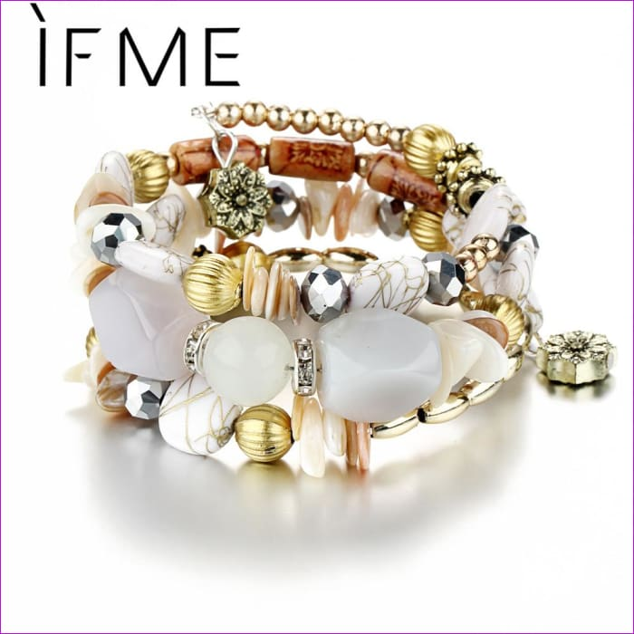 IF ME Bohemian Geometric Multilayer Charm Bracelets for Women Beads Bracelets & Bangles Statement Party Ethnic Jewelry Gift - Bracelets