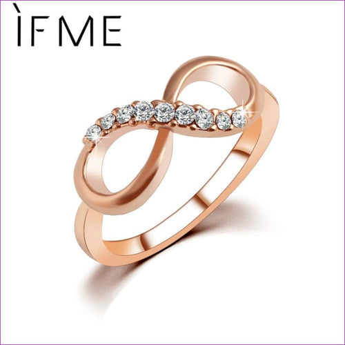 IF ME New Design hot sale Fashion Alloy Crystal Rings Gold Color Infinity Ring Statement jewelry Wholesale for women Jewelry - Womens Rings
