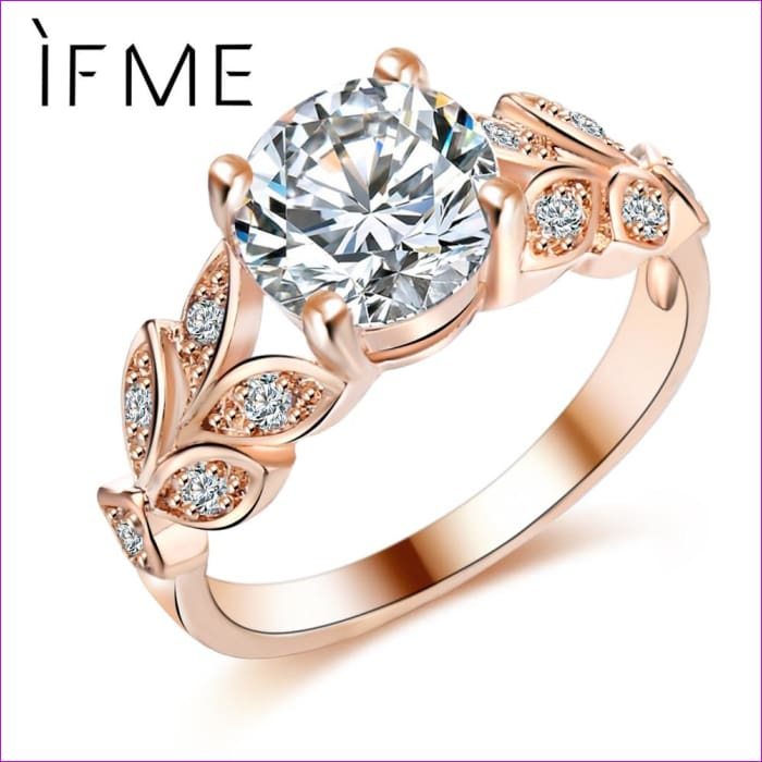 IF ME Wedding Crystal Silver Color Rings Leaf Engagement Gold Color Cubic Zircon Ring Fashion New Brand Bijoux For Women Jewelry - Womens
