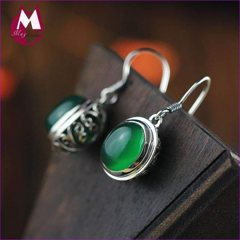 Jade Earrings 925 Sterling Silver Drop Earrings Jewelry Vintage Hollow Flower - Drop Earrings