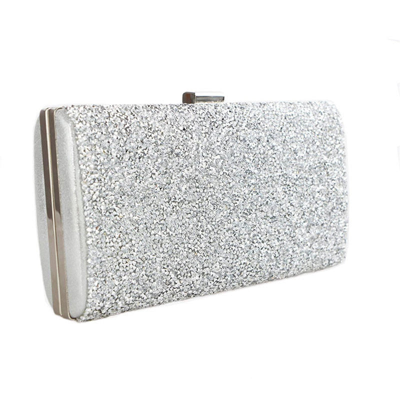 Black - Silver Wedding Diamond Rhinestone Clutches Crystal Bling Gold Clutch Bag - Purses cf-color-black cf-color-gold cf-color-silver