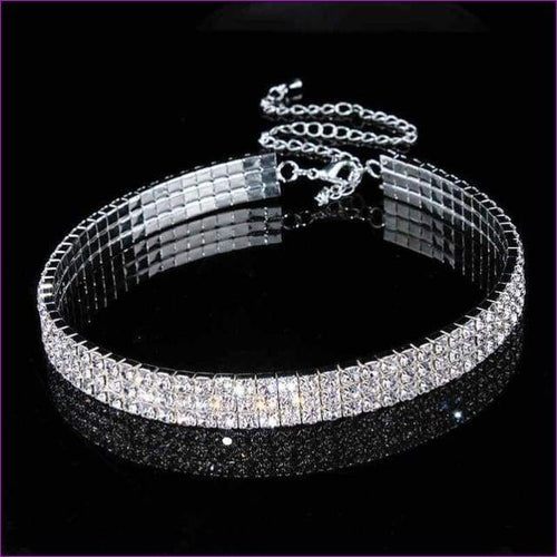 Jewelry Stretch Rhinestone Crystal Choker Necklace Elastic Cord Elegant - 3 layers - Chokers