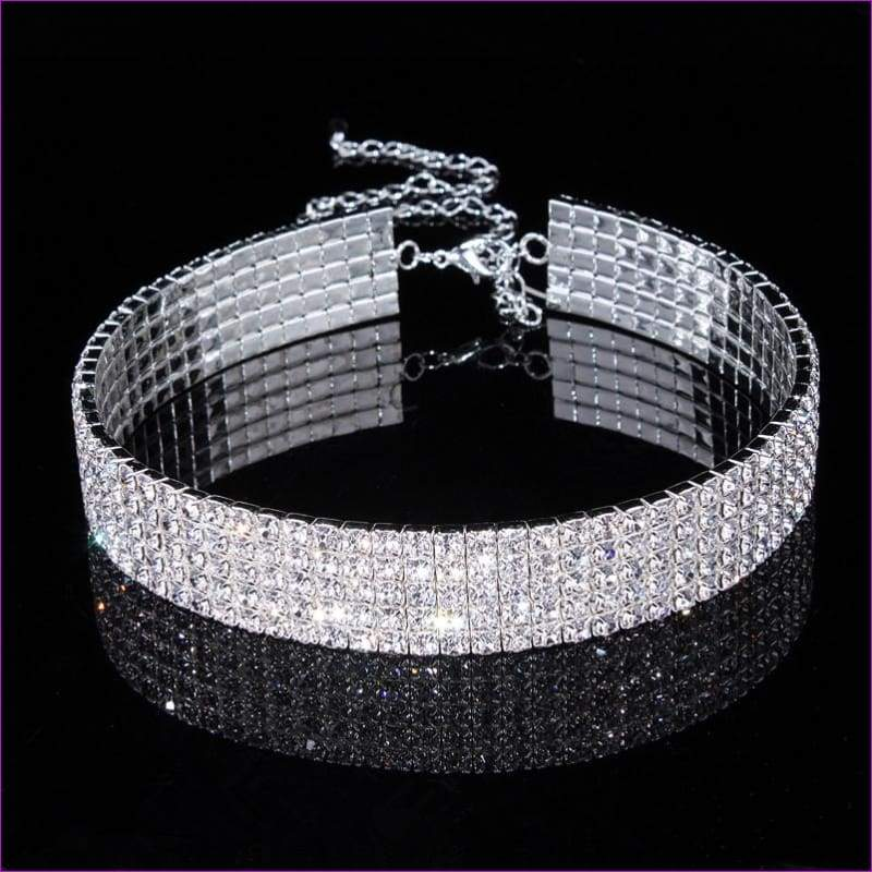 Jewelry Stretch Rhinestone Crystal Choker Necklace Elastic Cord Elegant - Chokers