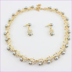 jiayijiaduo Classic Imitation Pearl necklace Gold-color jewelry set for women Clear Crystal Elegant Party Gift Fashion Costume - 10 -