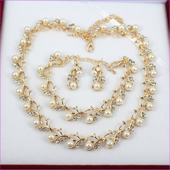 jiayijiaduo Classic Imitation Pearl necklace Gold-color jewelry set for women Clear Crystal Elegant Party Gift Fashion Costume - 2 - Jewelry