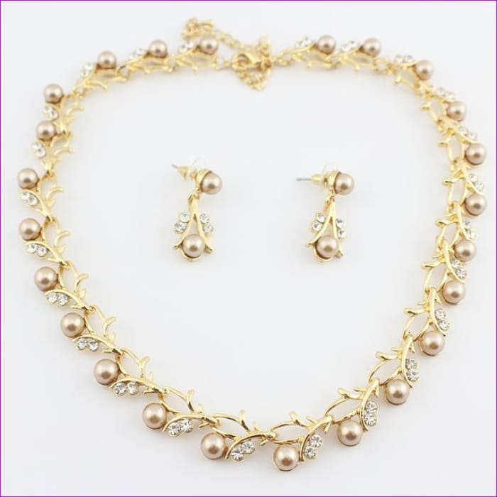 jiayijiaduo Classic Imitation Pearl necklace Gold-color jewelry set for women Clear Crystal Elegant Party Gift Fashion Costume - 3 - Jewelry