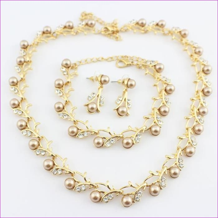 jiayijiaduo Classic Imitation Pearl necklace Gold-color jewelry set for women Clear Crystal Elegant Party Gift Fashion Costume - 6 - Jewelry