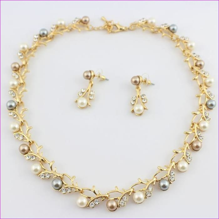 jiayijiaduo Classic Imitation Pearl necklace Gold-color jewelry set for women Clear Crystal Elegant Party Gift Fashion Costume - 7 - Jewelry