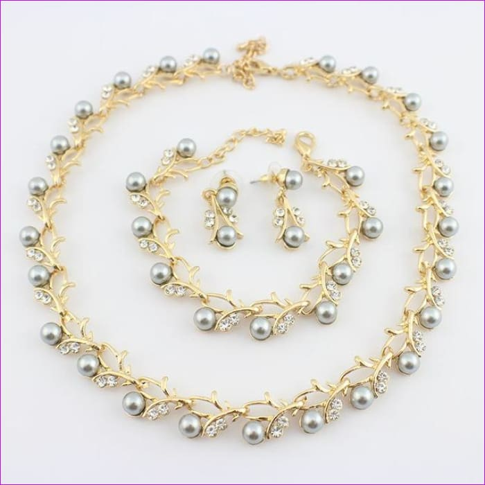 jiayijiaduo Classic Imitation Pearl necklace Gold-color jewelry set for women Clear Crystal Elegant Party Gift Fashion Costume - 9 - Jewelry