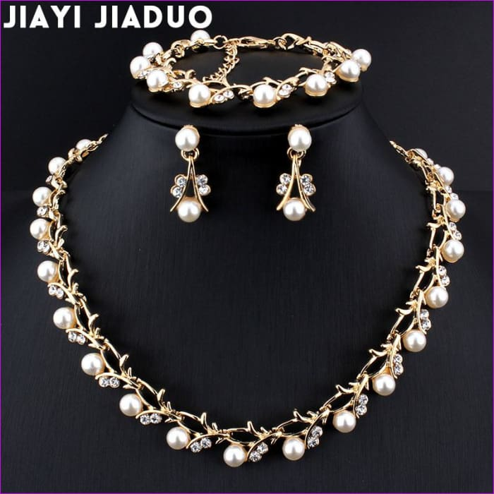 jiayijiaduo Classic Imitation Pearl necklace Gold-color jewelry set for women Clear Crystal Elegant Party Gift Fashion Costume - Jewelry