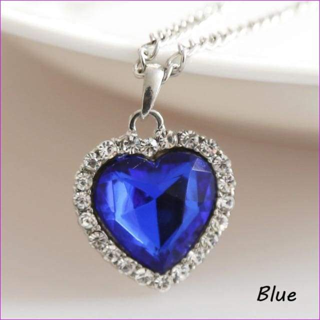 JieyueJewelry Crystal Pendant Heart Necklace Classic Titanic Ocean Crystal Heart Pendant Necklace Rhinestone Lover Gift - blue - Pendants