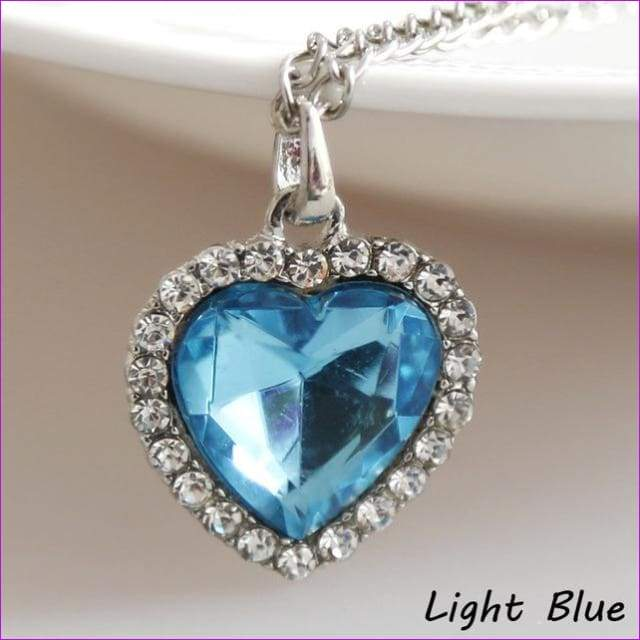 JieyueJewelry Crystal Pendant Heart Necklace Classic Titanic Ocean Crystal Heart Pendant Necklace Rhinestone Lover Gift - light blue -