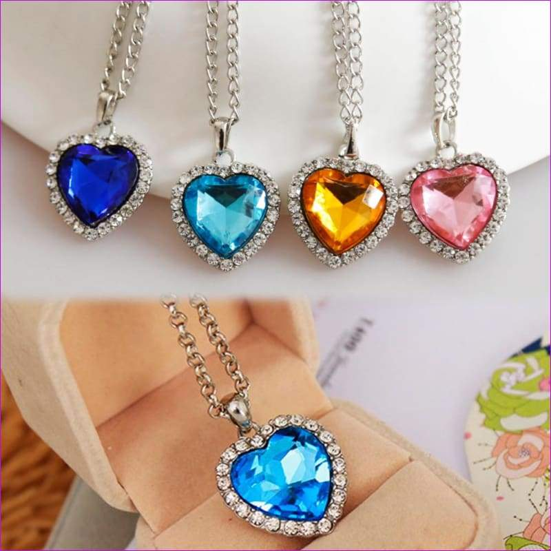 JieyueJewelry Crystal Pendant Heart Necklace Classic Titanic Ocean Crystal Heart Pendant Necklace Rhinestone Lover Gift - Pendants