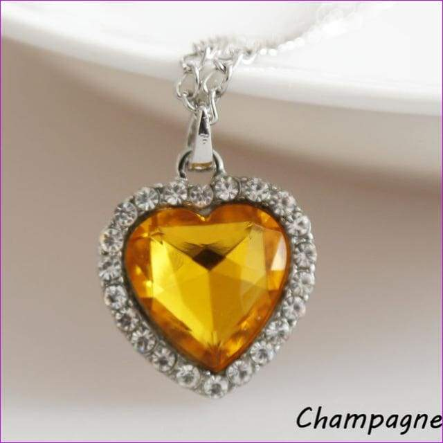 JieyueJewelry Crystal Pendant Heart Necklace Classic Titanic Ocean Crystal Heart Pendant Necklace Rhinestone Lover Gift - yellow - Pendants