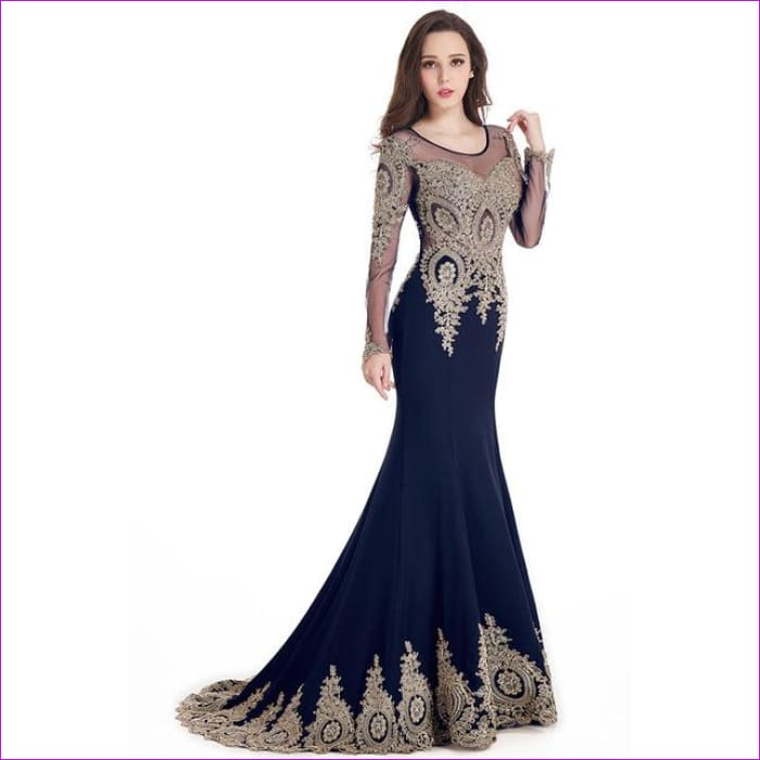 19b88283d76f3 Kaftan Dubai Black Long Sleeve Mermaid Evening Dresses Formal Evening Gowns  - navy blue / 2