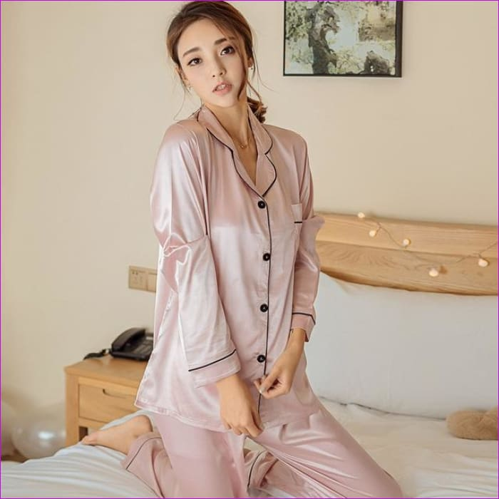 KISBINI Women Pajamas Sets Autumn Sleepwear Long Sleeve Silk Homewear Breathable Fashion New Arrival Ladies Nightgown - Pink / L - Pajama