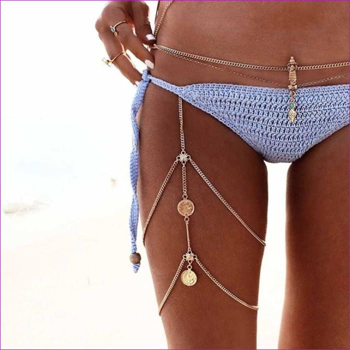 KISS WIFE Leg chains boho anklet body jewelry gold silver color anklets for women leg chains new body jewelry - Gold-color - Body Jewelry