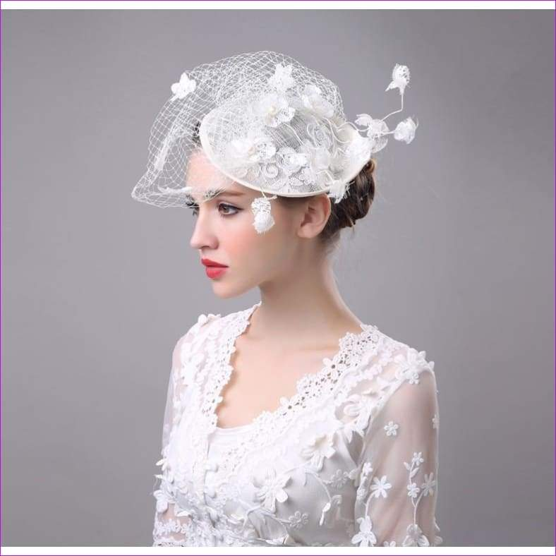 Lace Flowers Grenadine Bridal Hat/Photo Props/Socialite Hat - Bridal Hats