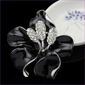lackingone *2018 christmas gift Enamel Brooch Rhinestone Crystal Lily Flower brooches for women Jewelry Birthday Gift - Brooch