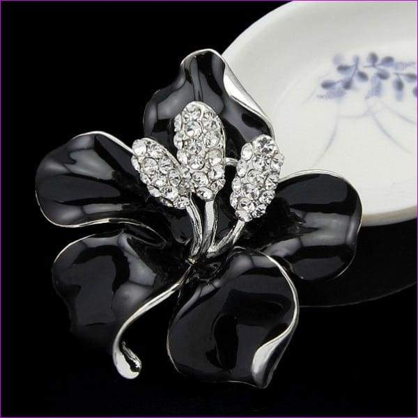 lackingone *2018 christmas gift Enamel Brooch Rhinestone Crystal Lily Flower brooches for women Jewelry Birthday Gift - Black - Brooch
