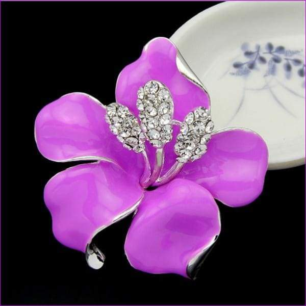 lackingone *2018 christmas gift Enamel Brooch Rhinestone Crystal Lily Flower brooches for women Jewelry Birthday Gift - Deep Pink - Brooch