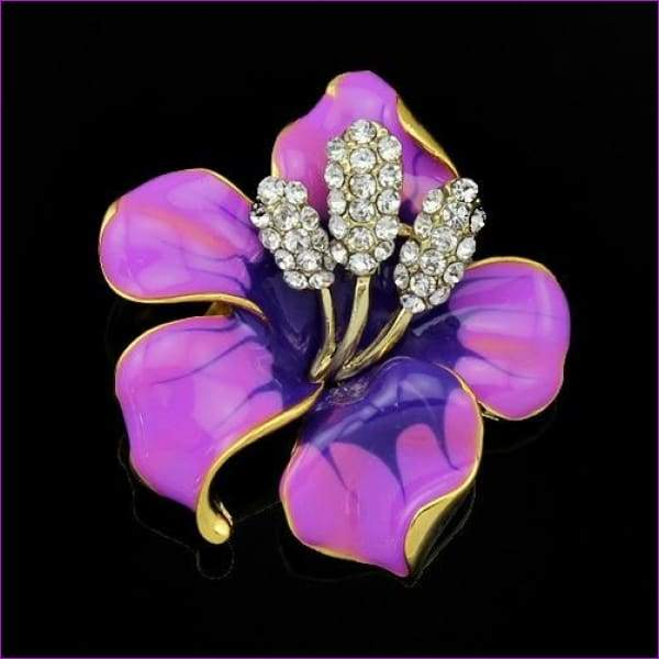 lackingone *2018 christmas gift Enamel Brooch Rhinestone Crystal Lily Flower brooches for women Jewelry Birthday Gift - Purple - Brooch