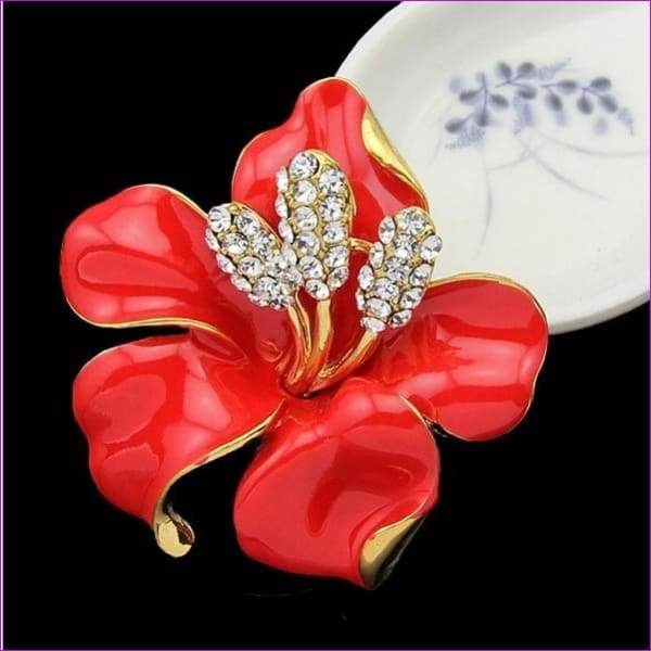 lackingone *2018 christmas gift Enamel Brooch Rhinestone Crystal Lily Flower brooches for women Jewelry Birthday Gift - Red - Brooch