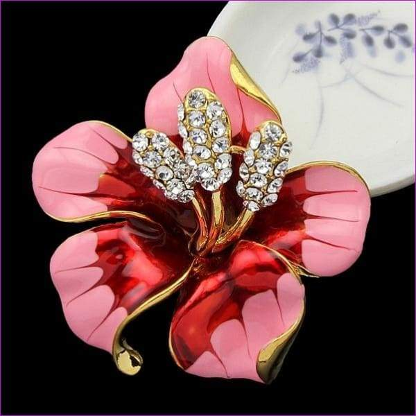 lackingone *2018 christmas gift Enamel Brooch Rhinestone Crystal Lily Flower brooches for women Jewelry Birthday Gift - Rose Red - Brooch
