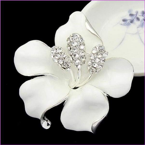 lackingone *2018 christmas gift Enamel Brooch Rhinestone Crystal Lily Flower brooches for women Jewelry Birthday Gift - White - Brooch