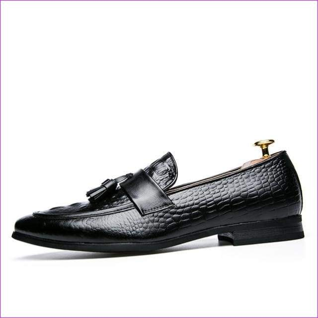 Leather italian formal snake fish skin dress office footwear luxury elegant oxford shoes for men - Black / 6.5 - Mens Shoes